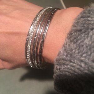 Set of 5 Silver Tone Sparkly Bangle Bracelets